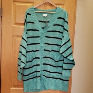NWT Lularoe Lucille Teal Striped Cardigan Large